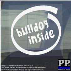 1 x Bulldog Inside-Window,Car,Van,Sticker,Sign,Adhesive,Dog,Pet,On,Board,English